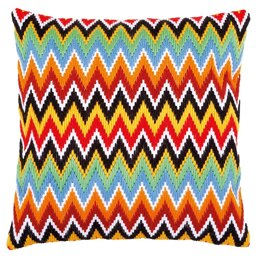 Vervaco Zigzag Lines Long Stitch Cushion Kit - 40 x 40 cm