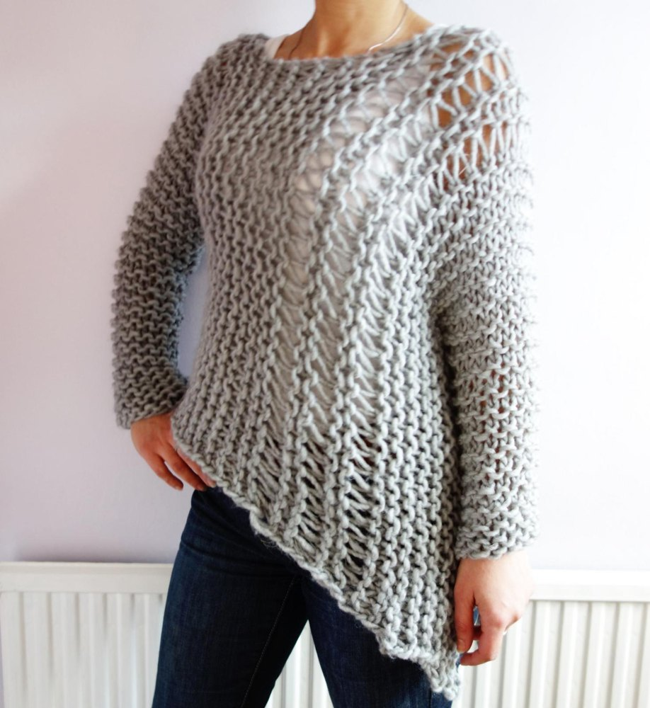Funky Bulky Asymmetrical Sweater Knitting Pattern By