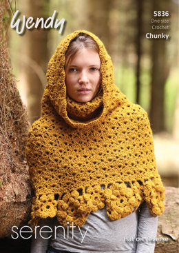 Crochet Poncho with Funnel Neck and Hat in Wendy S