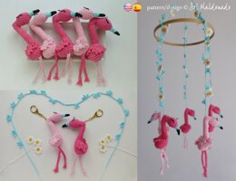 Flamingo amigurumi mini toy, favor, mobile, keychain