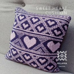 Sweet Heart Cushion Cover in MillaMia Naturally Soft Merino - Downloadable PDF