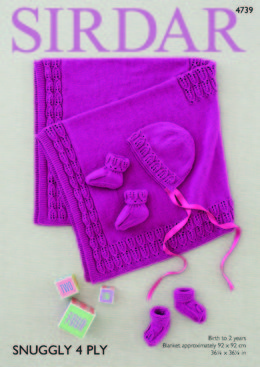 Blanket, Bonnet and Bootees in Sirdar Snuggly 4 ply - 4739 - Leaflet
