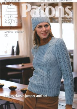 Ladies Classic Jumper and Hat in Patons Merino Extrafine DK - 3944