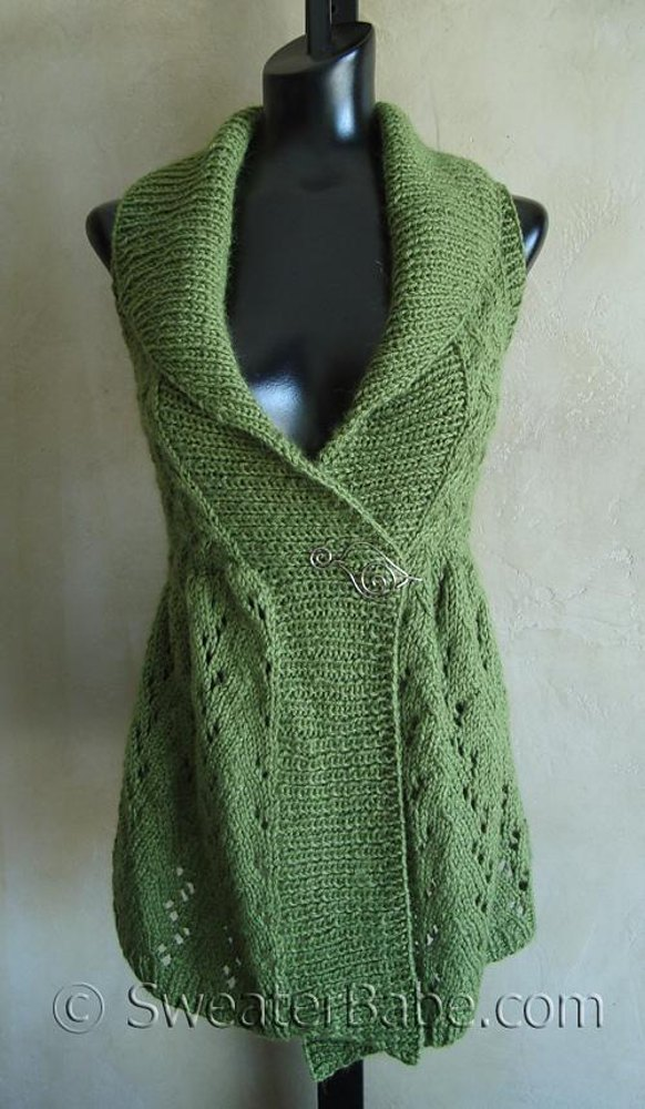 111 Long Lace Shawl Collared Vest Knitting Pattern By