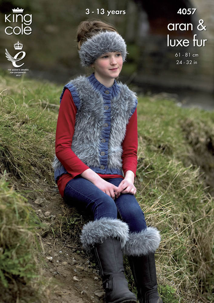 Jacket Gilet Boot Toppers Hat And Headband In King Cole Aran And