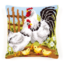 Vervaco Rooster Family Cushion Front Chunky Cross Stitch Kit - 40cm x 40cm