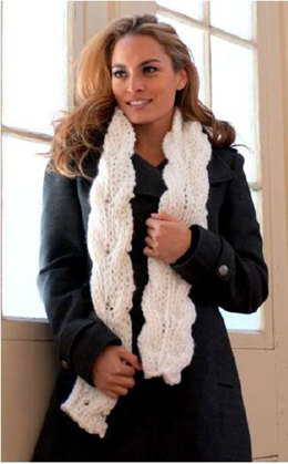 Reversible Cabled Scarf in Plymouth Encore Mega - F549