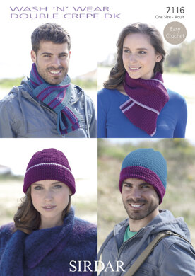 Easy Crochet Hat & Scarf Set in Sirdar Wash 'n' Wear Double Crepe DK - 7116