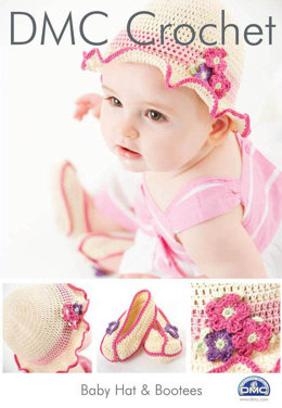 Baby Hat and Booties in DMC Petra Crochet Cotton Perle No. 3 - 14891L/2