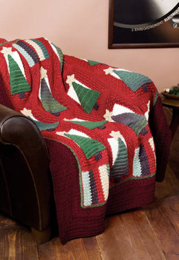 Christmas Tree Throw in Caron Simply Soft Heathers & Simply Soft - Downloadable PDF
