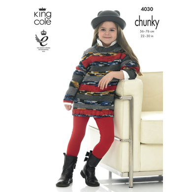 Girl's Sweater Dresses in King Cole Big Value Multi Chunky - 4030