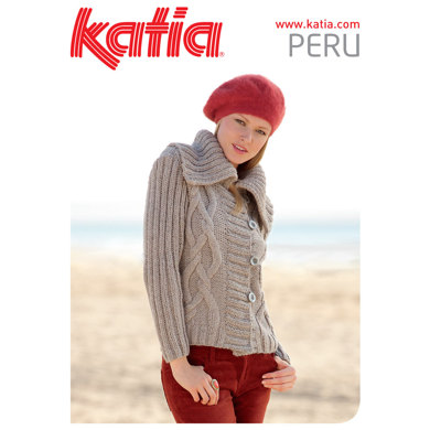 Ladies Cable Cardigan in Katia Peru - 18