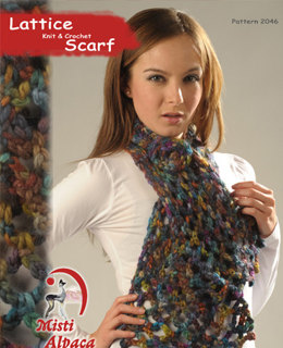 Lattice Knit & Crochet Scarf in Misti Alpaca Hand Paint Chunky - 2046