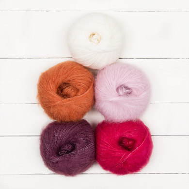 Willow & Lark Plume 5 Ball Colour Pack - Pom Pom Hot Water Bottle Cover by Alice Neal for Breast Cancer Haven