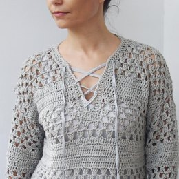 Lace up granny sweater