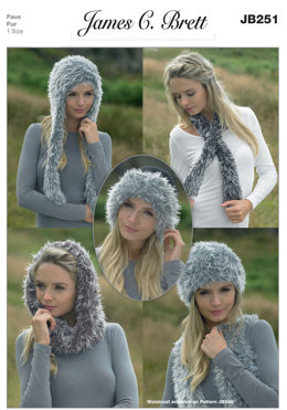 Snood, Neck Wrap and Hats in James C. Brett Chunky with Merino and Faux Fur - JB251