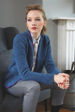 """Ribbon Trim Jacket"" - Jacket Knitting Pattern For Women in Debbie Bliss Luxury Tweed Aran"