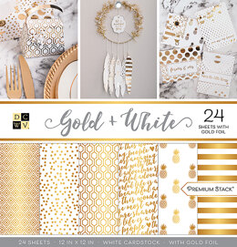 "American Crafts DCWV Single-Sided Cardstock Stack 12""X12"" 24/Pkg - Gold & White, 12 Des/2 Each, Half W/Foil"