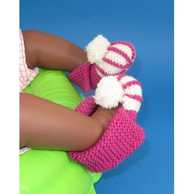 Baby Granny Bobble Stripe Slippers