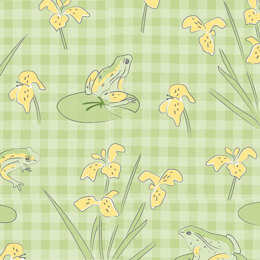 Craft Cotton Company Lily Pad - Frogs On Gingham