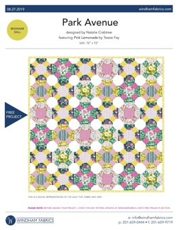 Windham Fabrics Park Avenue - Downloadable PDF