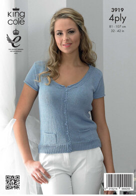 Ladies' Simple Cardigan and Top in King Cole Bamboo Cotton 4 Ply - 3919