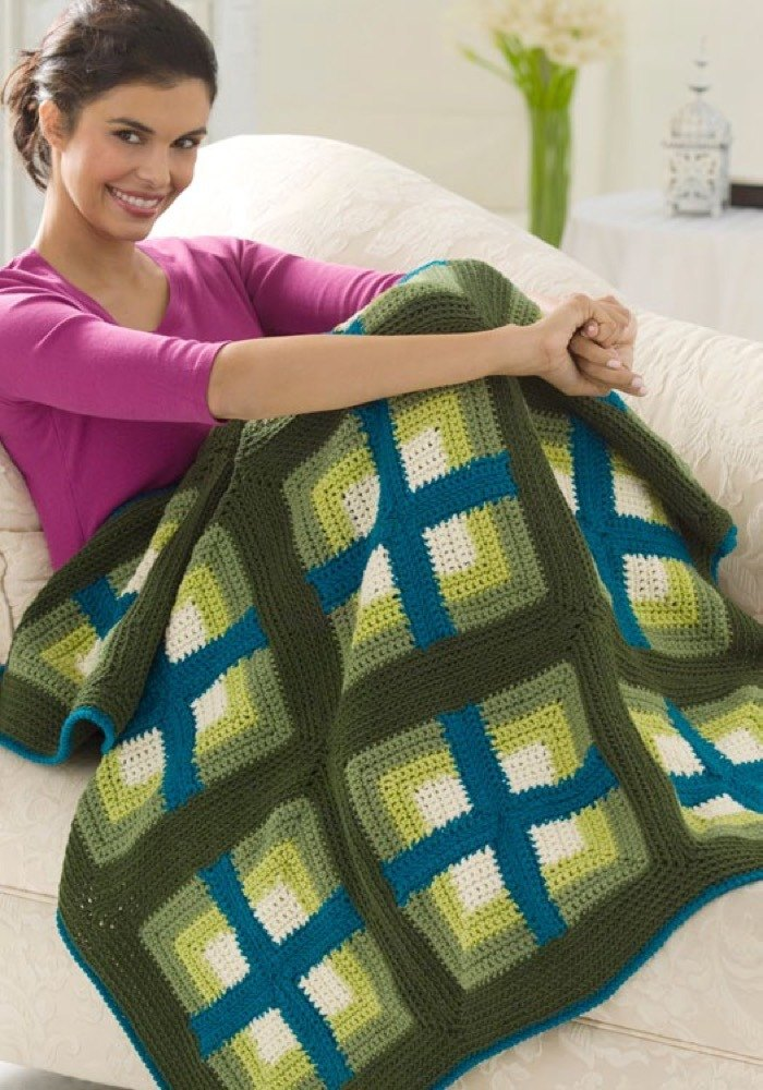Windows Afghan In Red Heart Super Saver Economy Solids