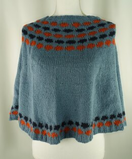 Easy Colorwork Poncho in Cascade Yarns Aegean Tweed - DK632 - Downloadable PDF