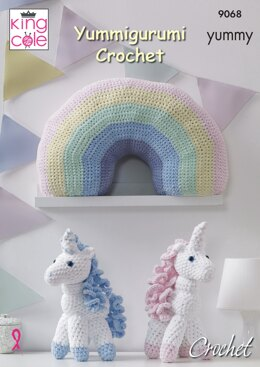 Crochet Unicorn & Rainbow Cushion in King Cole Yummy - 9068
