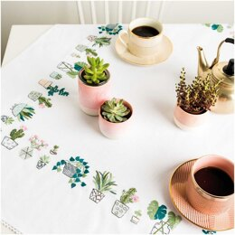 Rico Cacti Tablecloth Embroidery Kit (95 x 95 cm)