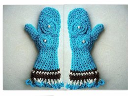 335, FRILLY EDGE GIRLY MITTENS