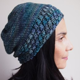 Star stitch slouchy hat with knit look