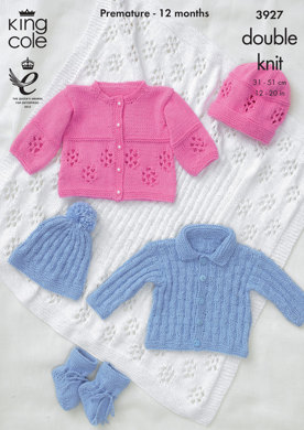 Baby Hat, Bootees,Jacket and Shawl in King Cole Cottonsoft DK - 3927