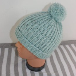 Simple Aran Fishermans Rib Bobble Beanie Hat