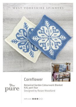 Bo Peep Pure Botanical Garden Blanket KAL - Cornflower in West Yorkshire Spinners - WYSKAL04C - Downloadable PDF