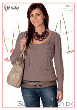 Lacy Ribbed Sweater in Wendy Supreme Cotton DK - 5534