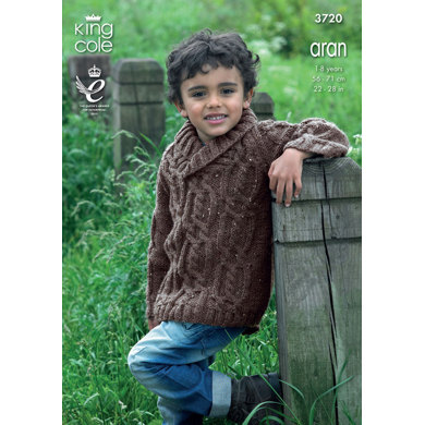 Sweater and Cardigan in King Cole Aran - 3720