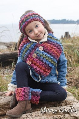 Button Wrap Scarf with Headband & Boot Cuffs