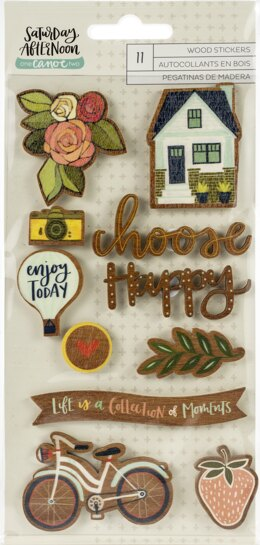 American Crafts One Canoe Two Saturday Afternoon Veneer Stickers 11/Pkg - 571077