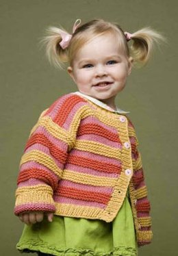 Striped Cardi in Lion Brand Cotton-Ease - 60448