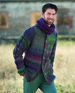 Mens Neckwarmer and Cardigan in Katia Azteca and Maxi Merino - 10