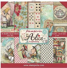 """Stamperia Intl Stamperia Double-Sided Paper Pad 12""""X12"""" 10/Pkg - Alice, 10 Designs/1 Each"""