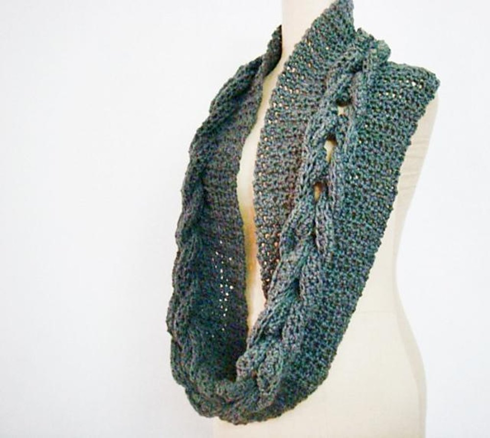 Crochet Cabled Infinity Loop Scarf Cowl Crochet Pattern By