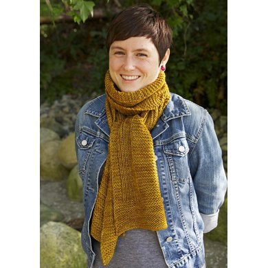 dark mustard colored knitted scarf