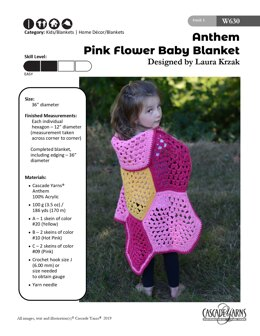 Pink Flower Baby Blanket in Cascade Yarns Anthem - W630 - Downloadable PDF