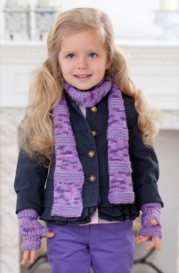 Berry-licious Scarf & Wristers in Red Heart Soft Solids - LW3062