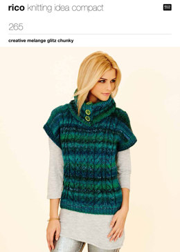 Long Line Cabled Tunic & Sweater With Buttoned Collar in Rico Creative Melange Glitz Chunky - 265