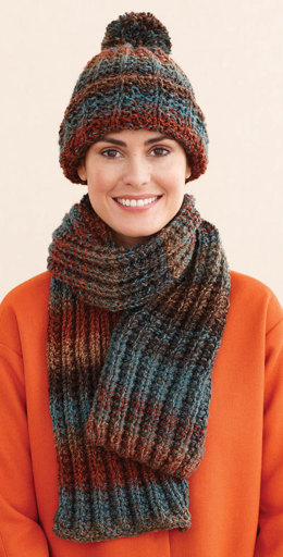 Rustic Ribbed Hat and Scarf in Lion Brand Tweed Stripes - L0611J