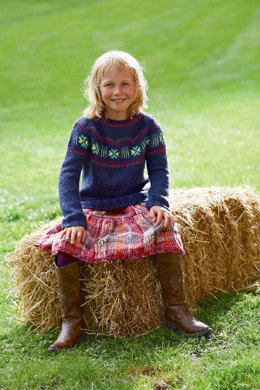 Child's Sweater with Round Yoke and Jacquard Pattern in Schachenmayr Universa - S6908 - Downloadable PDF