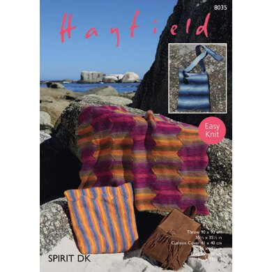 Throw, Cushion Cover and Bag in Hayfield Spirit DK - 8035 - Downloadable PDF